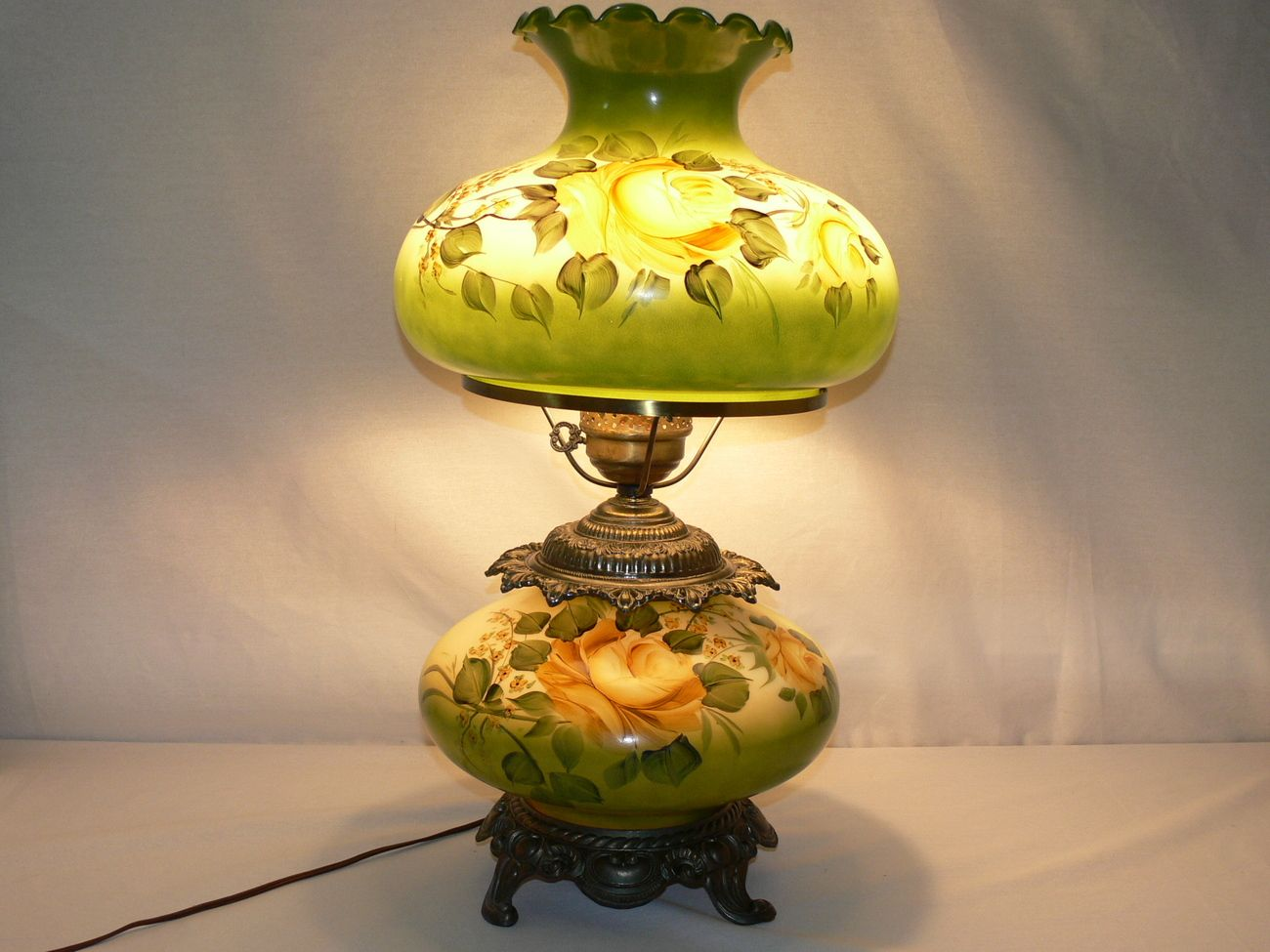 Vintage Large 24 Gone With The Wind Hand Painted Yellow Roses Hurricane Lamp Vintage Hurricane Lamps Antique Hurricane Lamps Hurricane Lamps