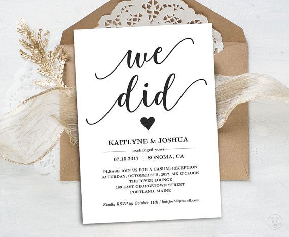 Elopement Reception Invitation Card Template This Is An Instant Printable That Affordable