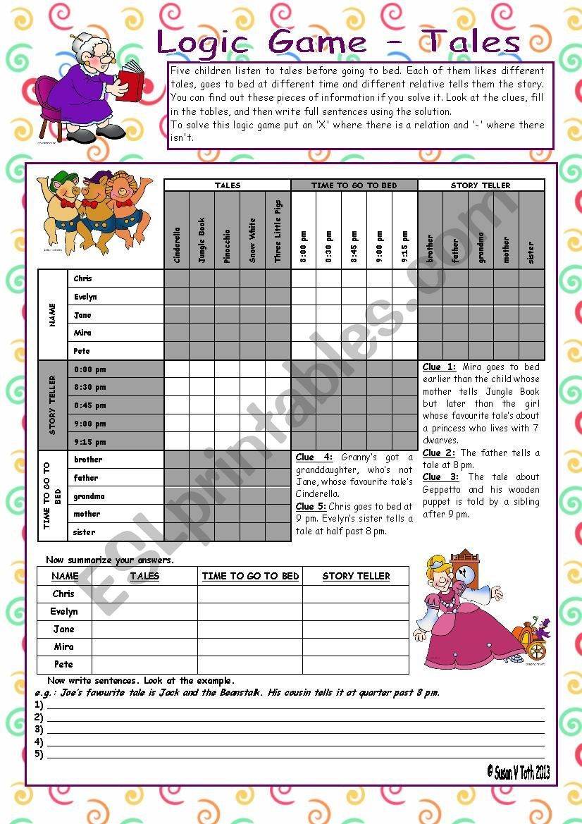 Logic game (56th) - Tales *** with key *** fully editable *** BW - ESL worksheet by Zsuzsapszi