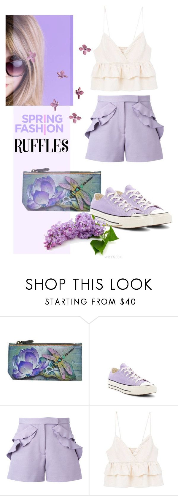 """Spring Ruffles"" by youaresofashion ❤ liked on Polyvore featuring Anuschka, Converse, Elie Saab, MANGO and ruffledtops"