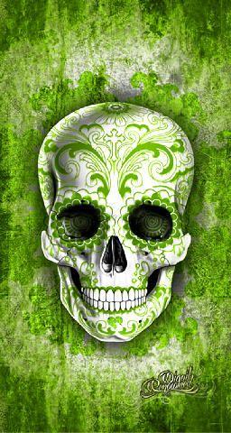 Green Skull Background
