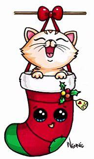 Gatinho De Natal Desenhos Kawaii Doodles Kawaii E