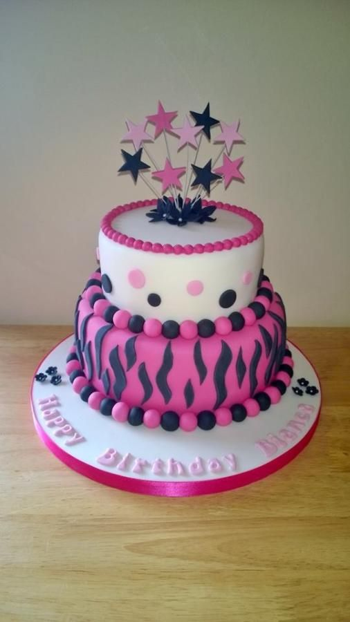 2 Tiered Pink,Black & White Zebra,Animal Print Birthday Cake - Cake by T cAkEs