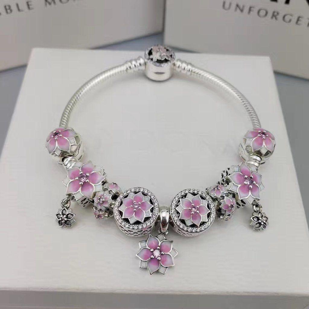 Authentic Pandora Bracelet With 9 Pcs Poetic Flower Charms