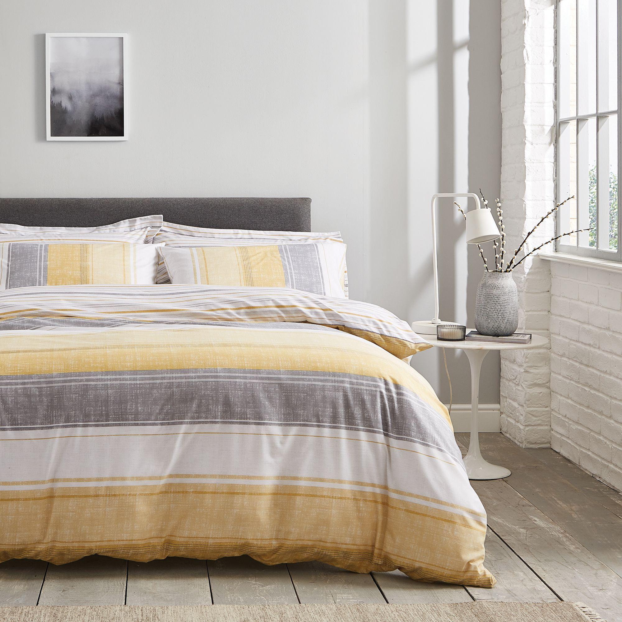 Ellis Ochre Stripe Reversible Duvet Cover and Pillowcase ...