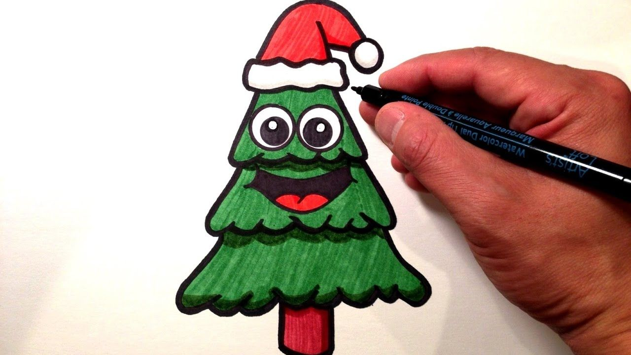 How To Draw A Cute Christmas Tree Tekenen