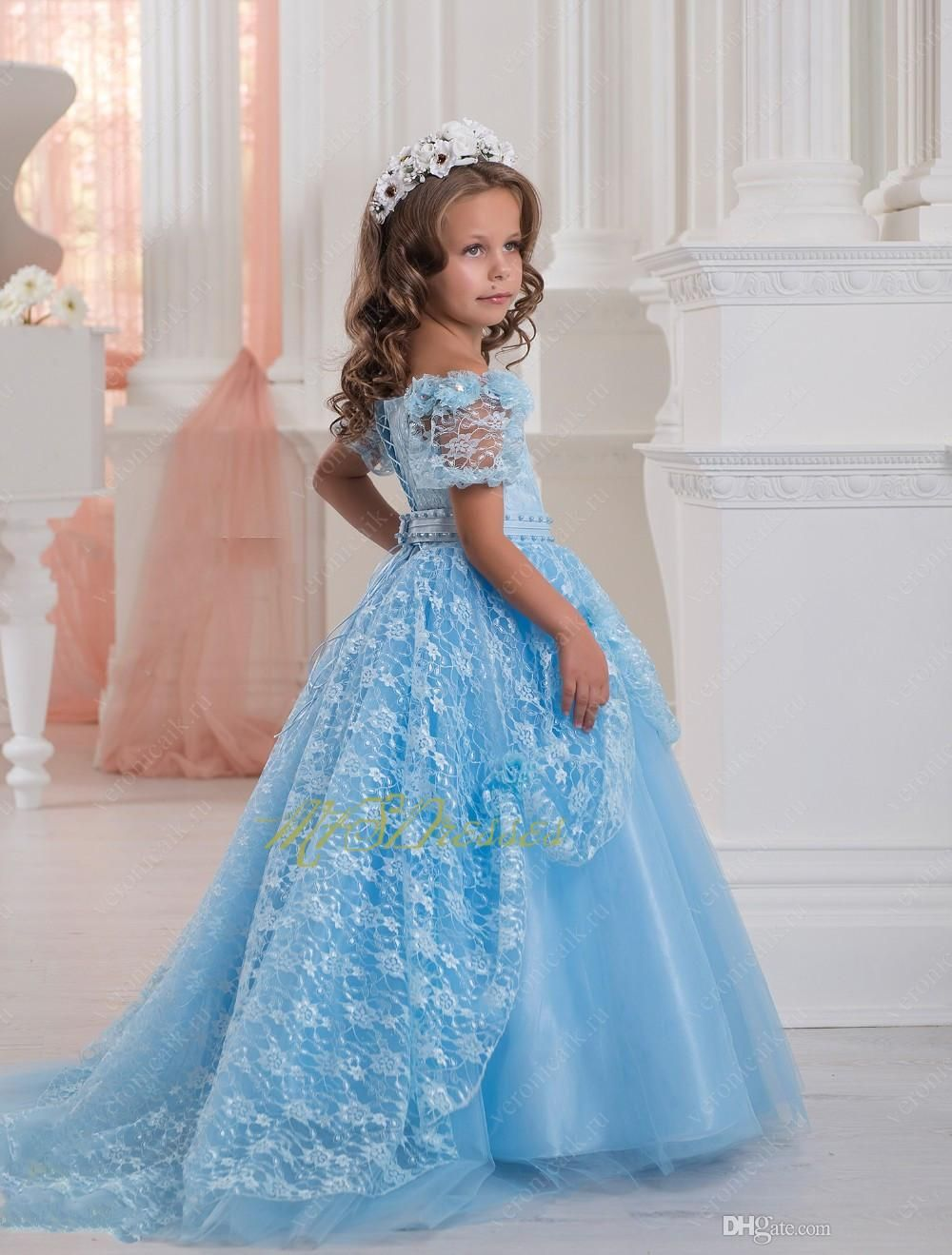 Gorgeous blue lace flower girl dresses with train ball gown kids