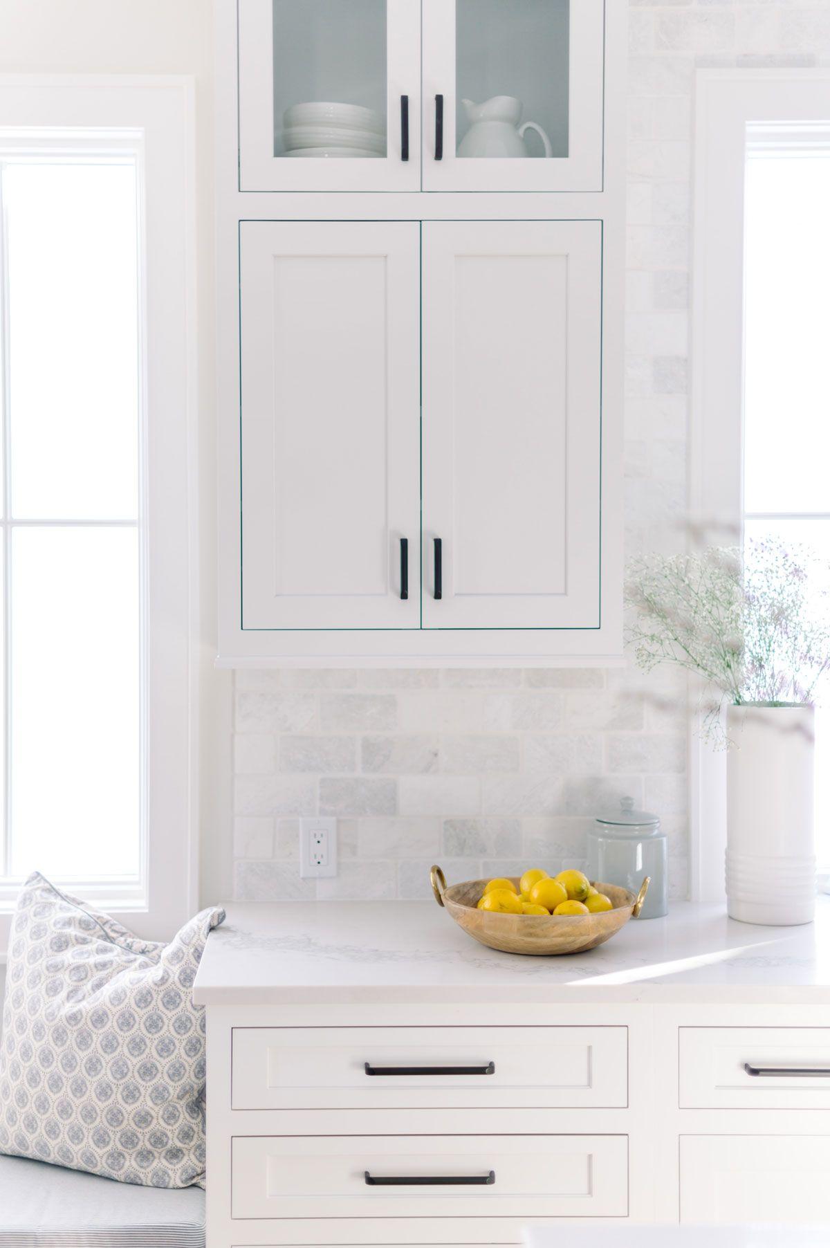 Before And After Timberline Project Reveal Interior Designer Des Moines Jillian Lare In 2020 Kitchen Backsplash Designs Kitchen Marble Backsplash For White Cabinets