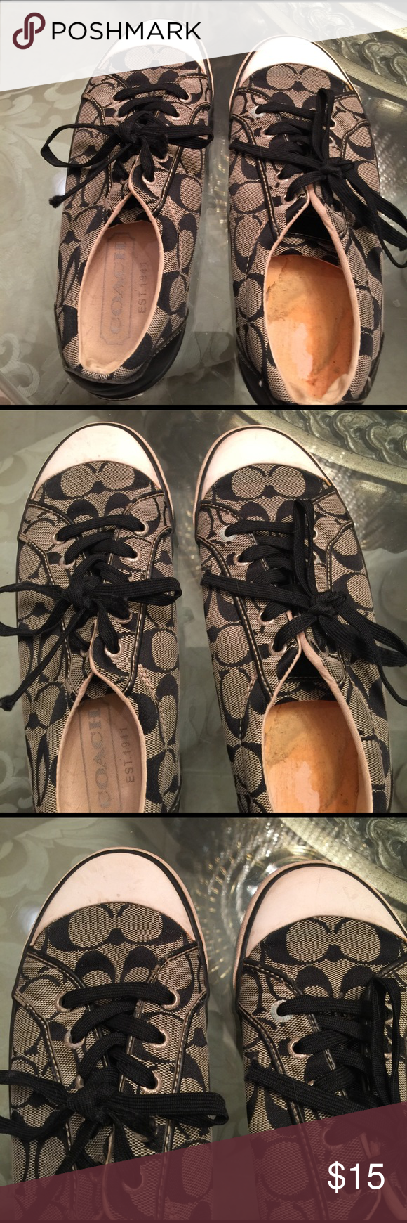 Coach sneakers Good condition outside except right liner is missing. coach Shoes Sneakers