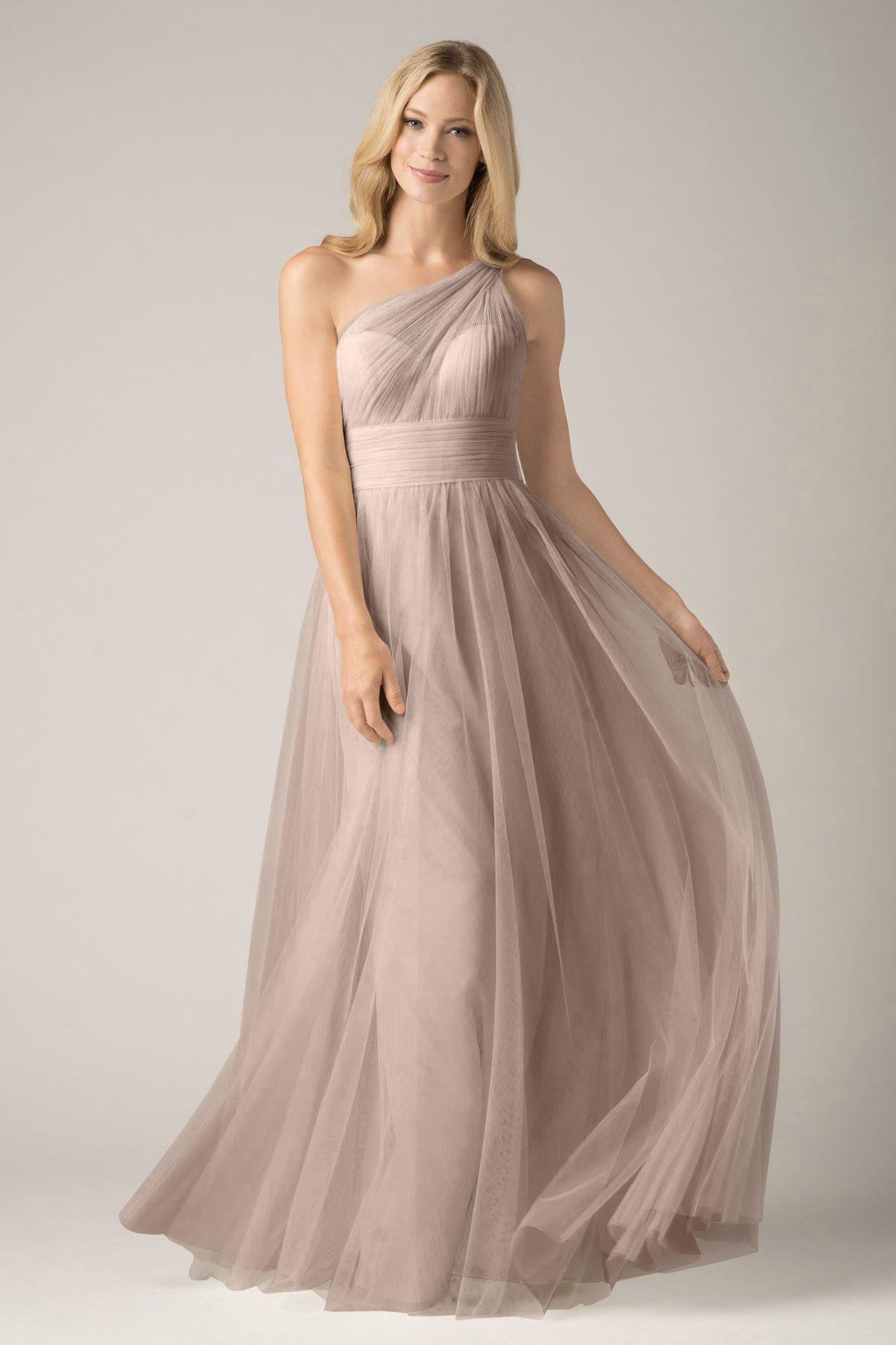 Wishesbridal Grey Tulle One Shoulder Floor Length #Princess ...