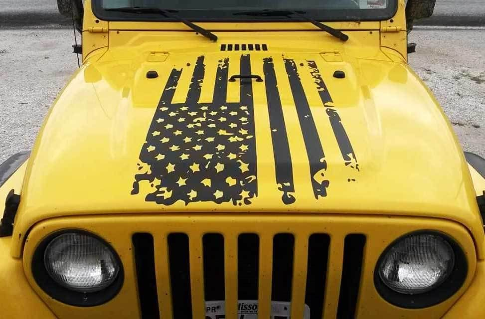 Patriotic American Distressed Flag Decal Sticker For Jeep Wrangler