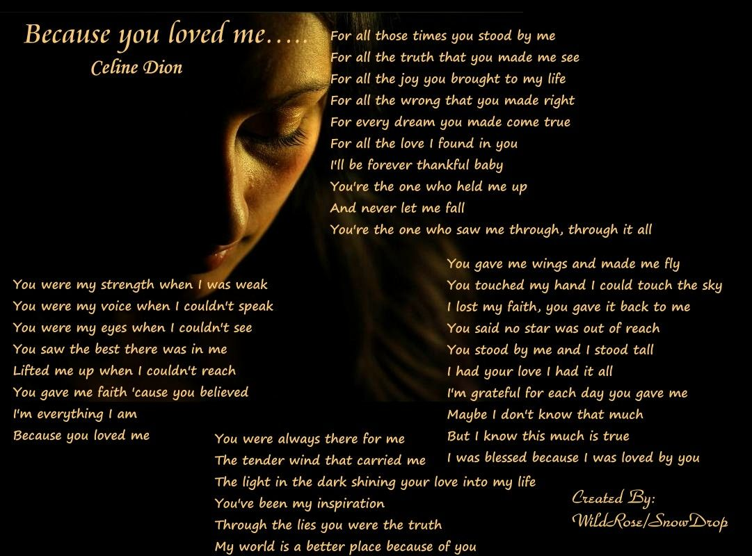 This Is What My Dad I Danced To At My Wedding Cherished Memories Because I Love You Celine Dion Lyric Quotes