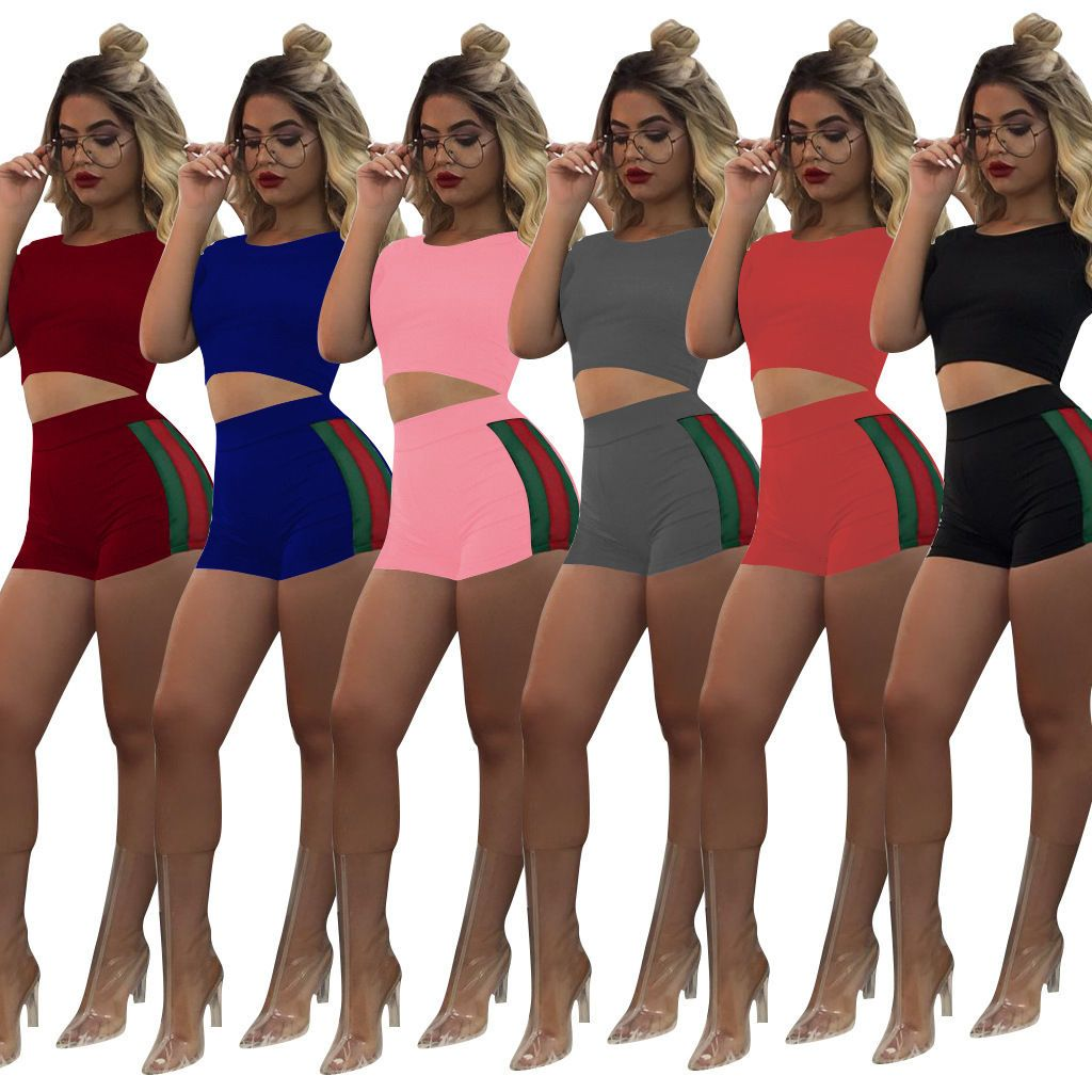 bad9104d6f1 Women Summer Club 2 Piece Tops+Shorts Bodycon Outfit Party Short Sport  Jumpsuits