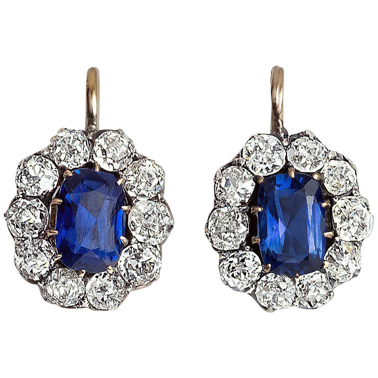 Antique Russian Sapphire Diamond gold Cluster Earrings | From a unique collection of vintage dangle earrings at https://www.1stdibs.com/jewelry/earrings/dangle-earrings/