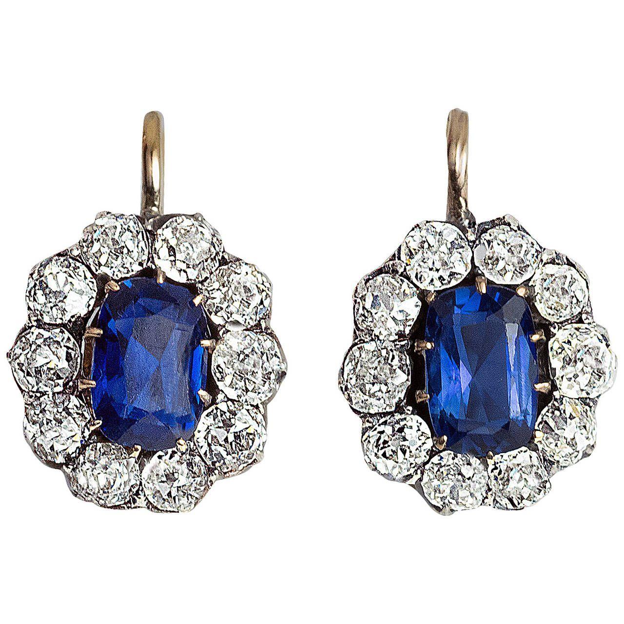 Antique Russian Sapphire Diamond Gold Cluster Earrings Antique Diamond Earrings Blue Diamond Earrings Sapphire And Diamond Earrings