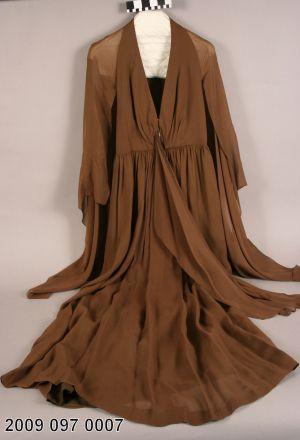 Brown Chiffon Halter Style Evening Dress Worn to Veiled Prophet ball. (1974)