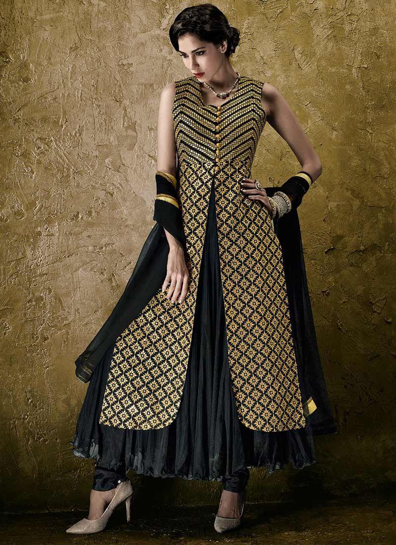 Black Jacket Style Anarkali Suit