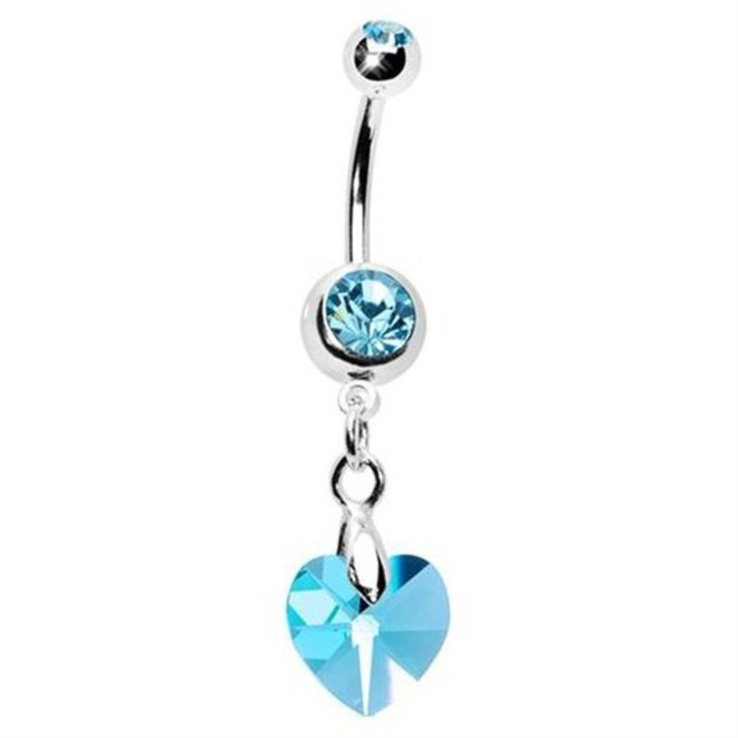 Body piercing retainer  Heart Crystal Belly Ring Aqua Heart Crystal with Surgical Steel