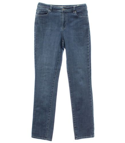 Chico's Size 0 XS 4 Stretch Abalone RG Jean Womens Slim Straight Leg Denim Jeans