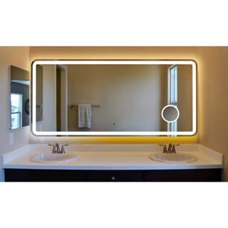 Shop For Silvertone Metal/ Glass Electric LED Illuminated Vanity Mirror.  Get Free Shipping At