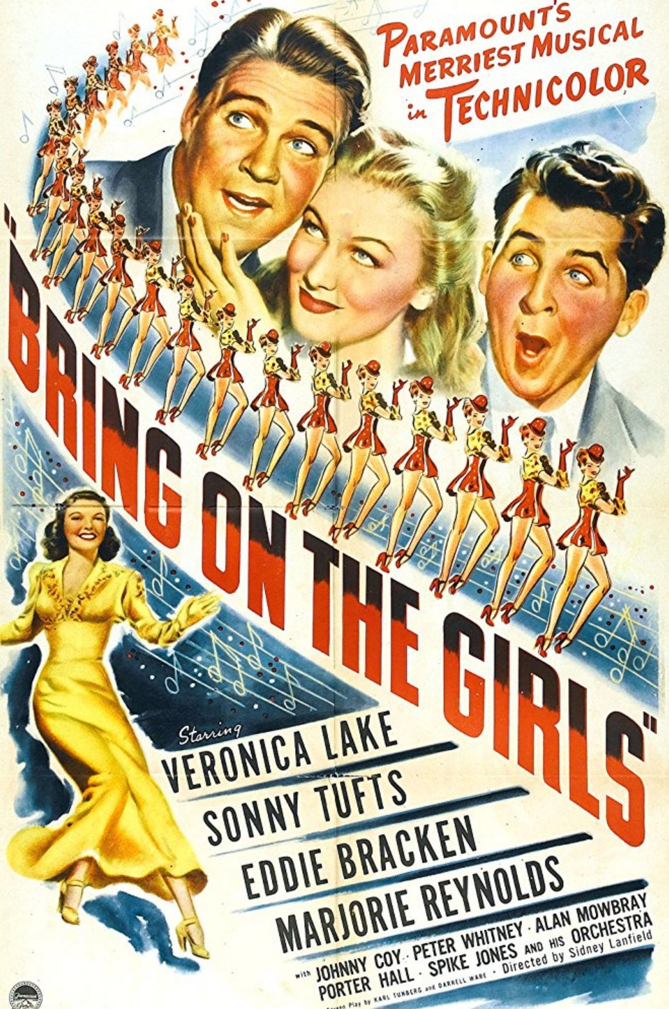 """""""Bring on the Girls"""" movie musical poster, 1945. Starring"""