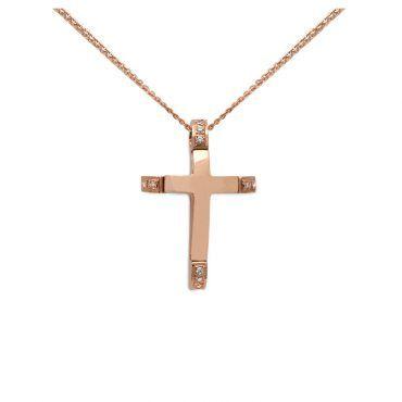 c19b2381b92 Βαπτιστικός σταυρός με αλυσίδα για κορίτσι ροζ χρυσός Κ14 με ζιργκόν ...