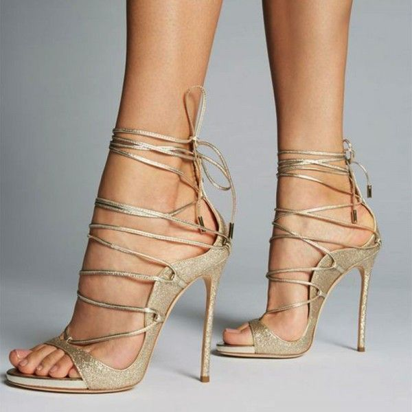 d360ec29a9 Women's Black And Gold Crossed Upper Strappy Heels Open Toe Sandals for  Party, Night club