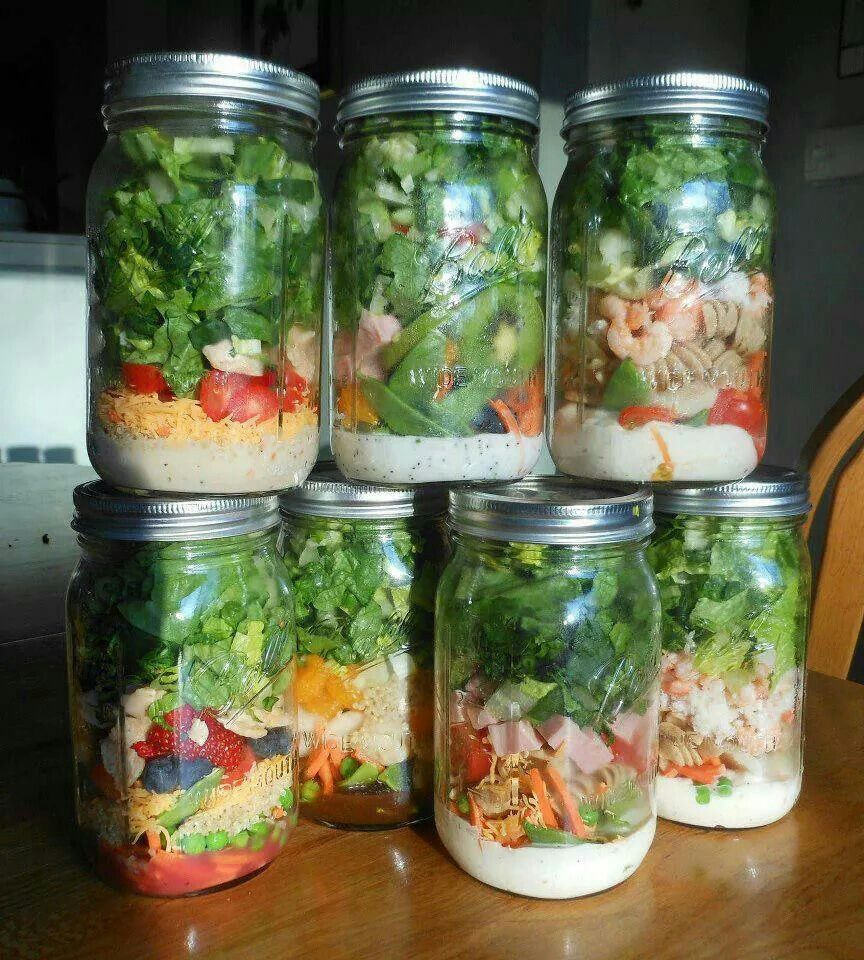 Salad in a jar.  Dressing on the bottom, lettuce on the top, whatever you want in the middle. Shake and serve.  Lasts longer,  saves space.