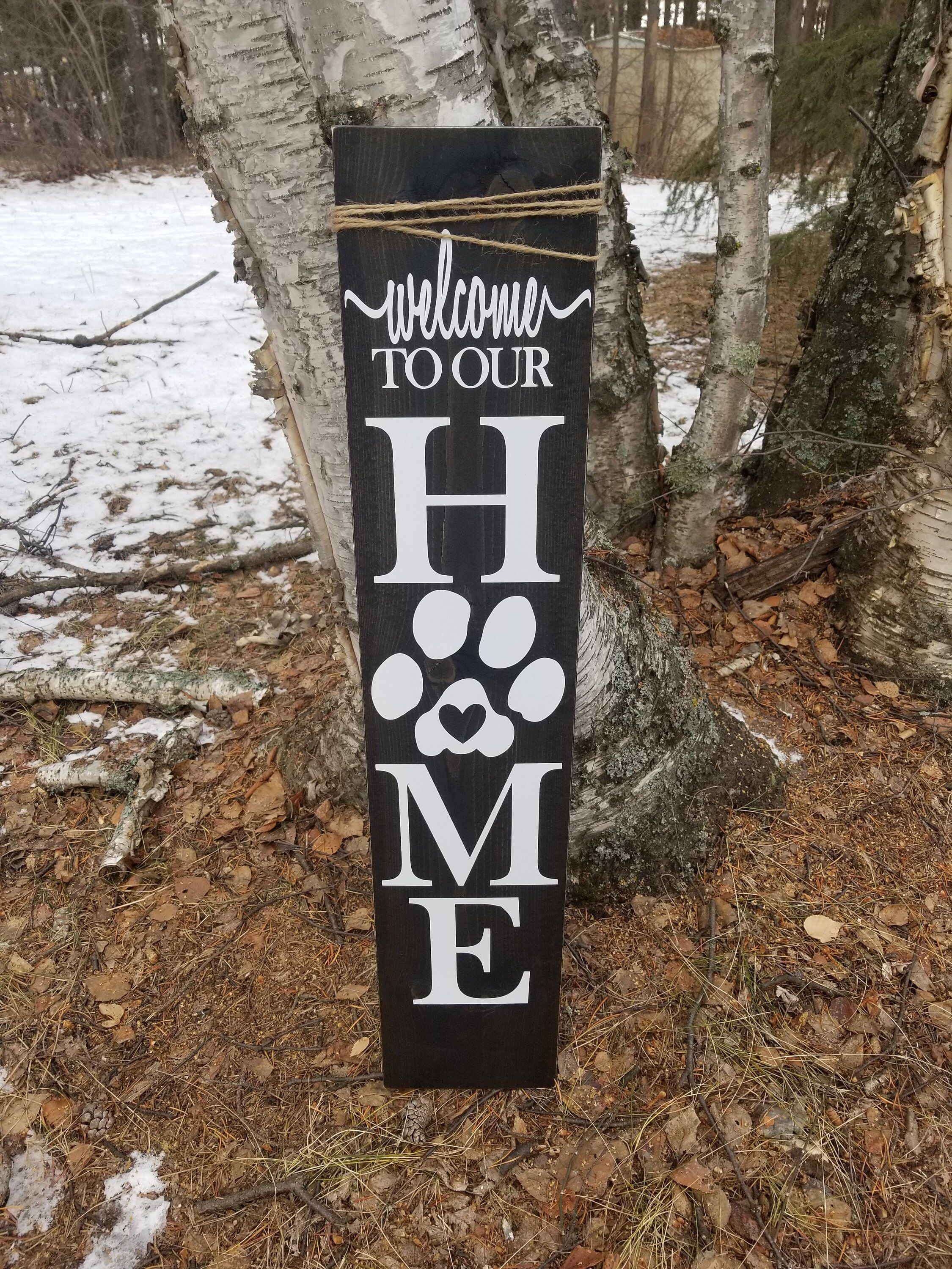Porch Signs Paw Print Welcome Signs Wooden Signs Etsy Porch Signs Wooden Welcome Signs Diy Wood Signs
