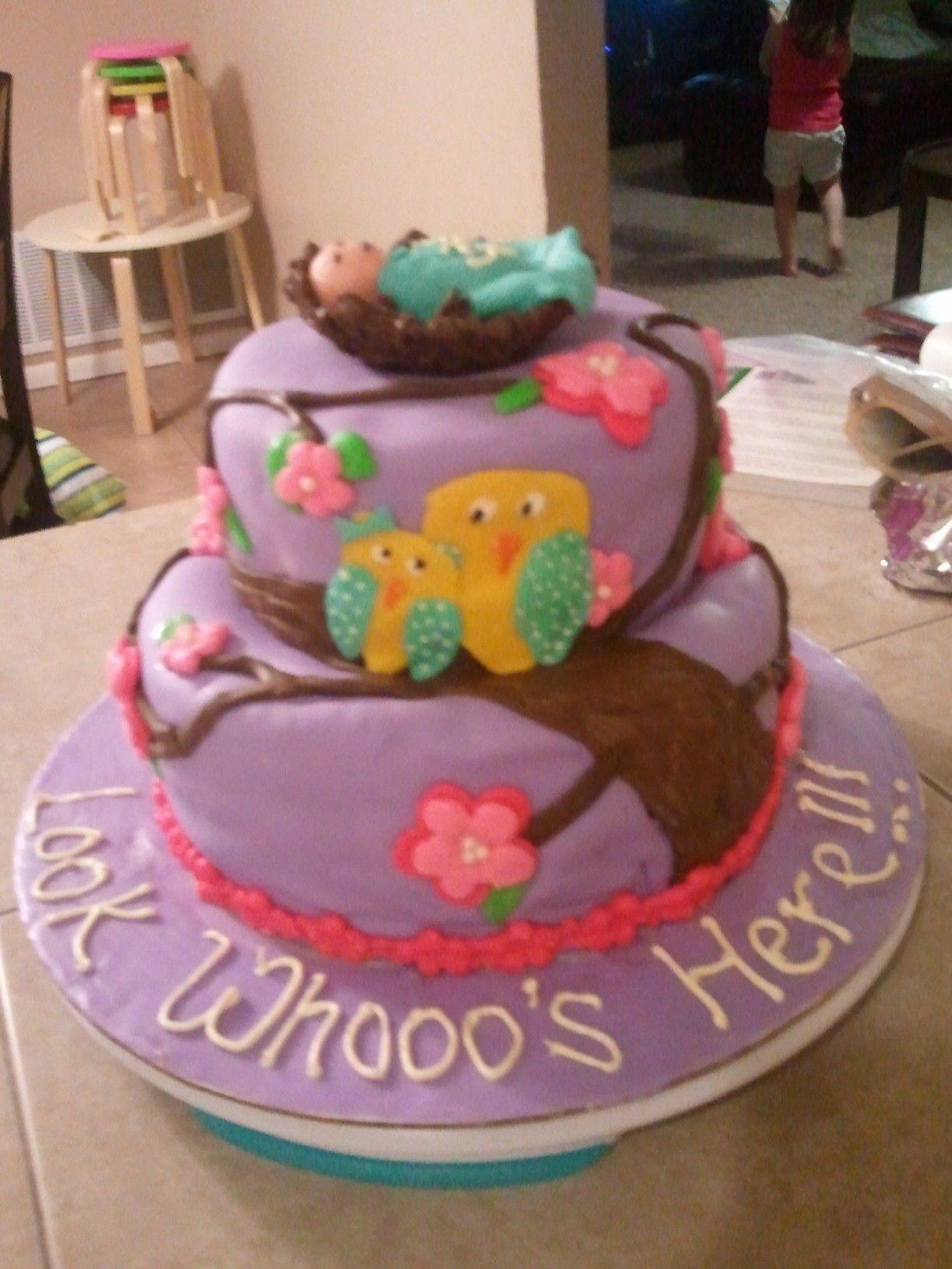 Owl themed baby shower cake!