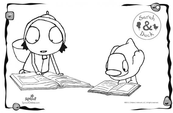 Sarah & Duck Reading – Sarah & Duck Coloring Pages for Kids | Sprout ...