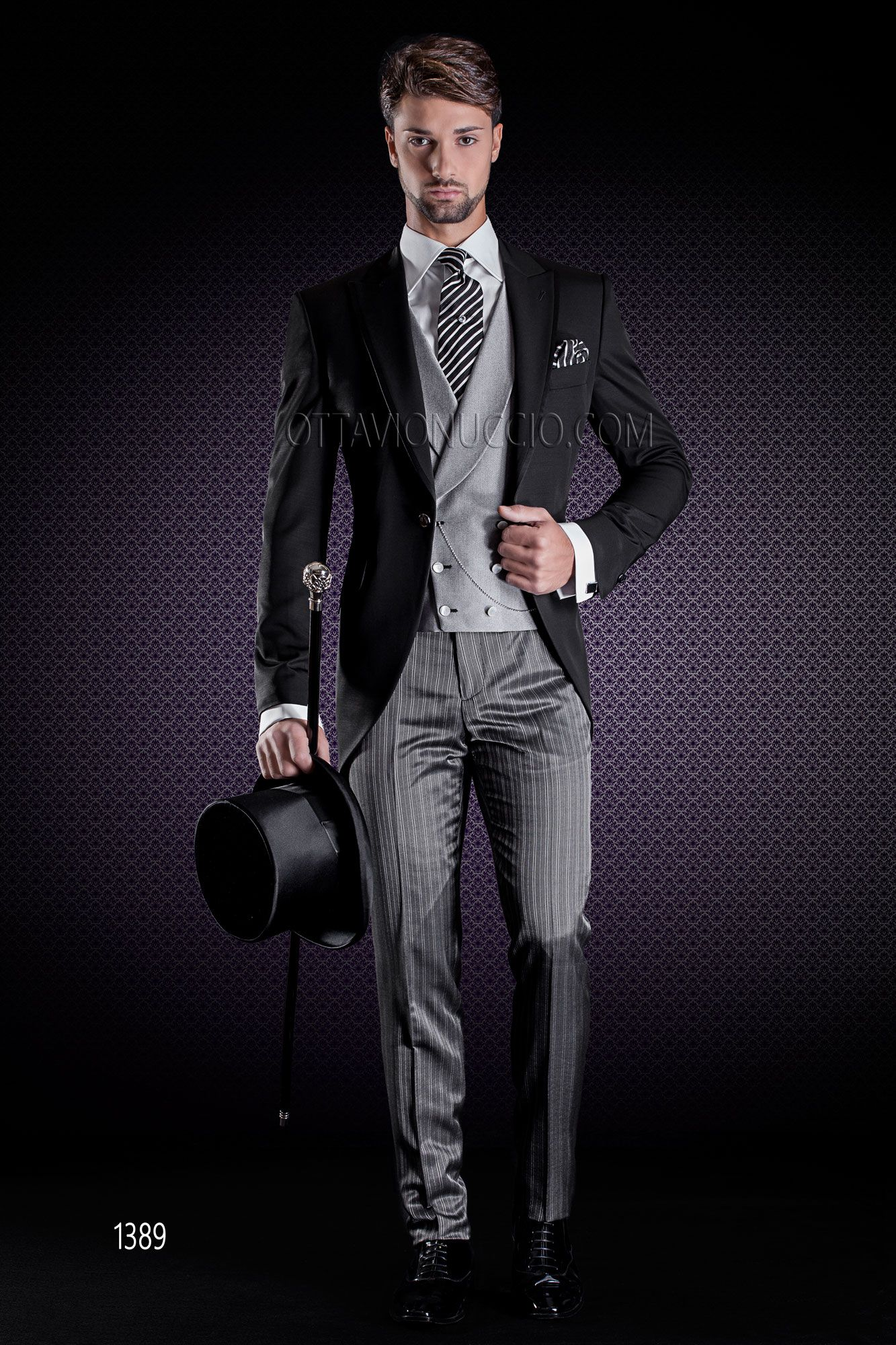 black tuxedo jacket with grey pants and pearl grey double