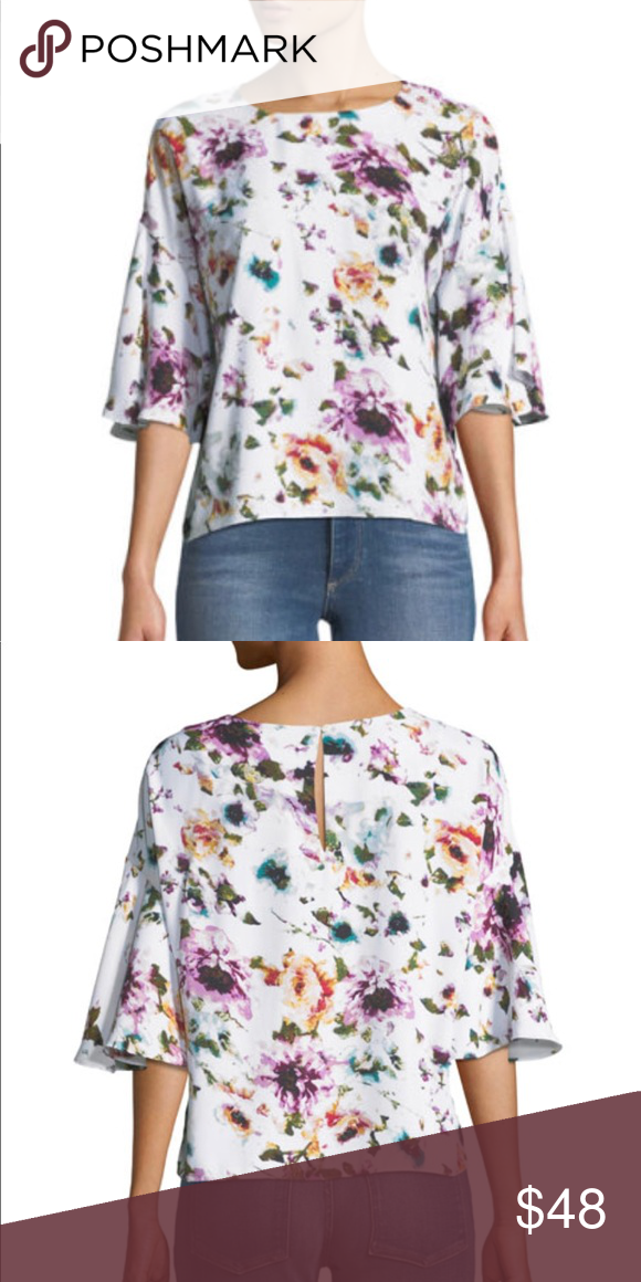 49d3d0d22d6a5 Chelsea   Theodore Floral-Print Flutter Sleeve Top NWT! This gorgeous top  is a STEAL! Bateau neckline