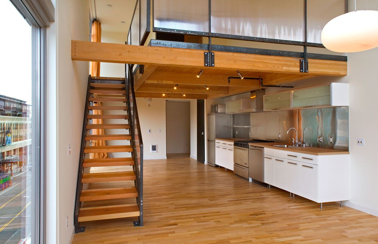 stairs to loft oiver kitchen | lofts residences seattle agnes