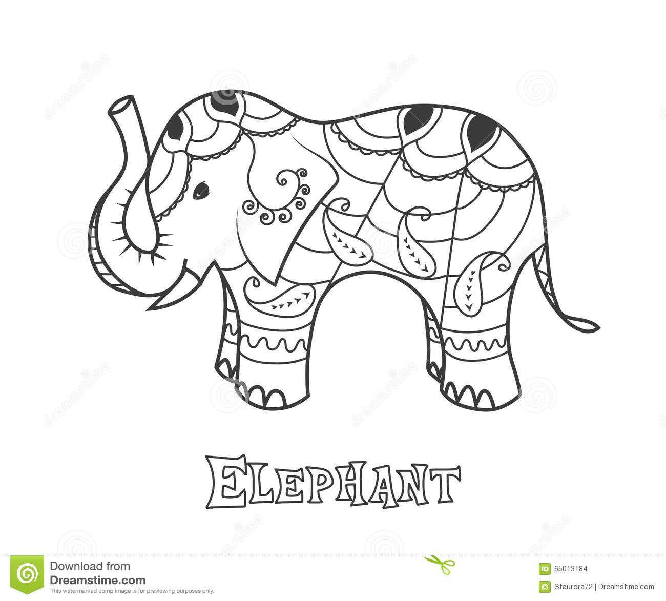Indian Elephant. Hand Drawn Stylized Elephant With Decorative Tribal ...