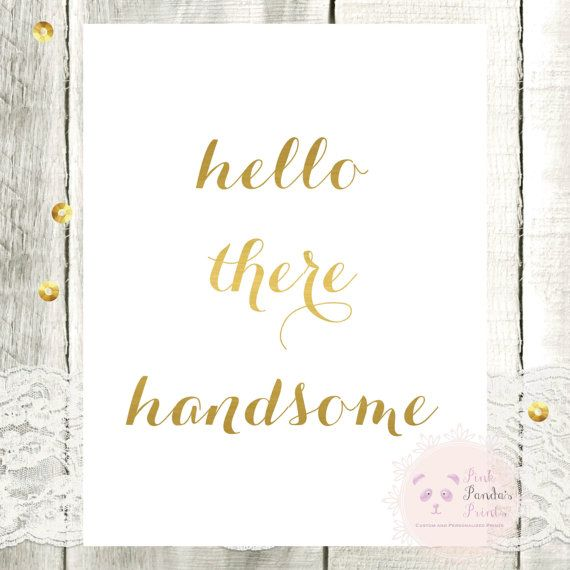 Set Of 2 Good Morning Gorgeous Hello There Handsome Mock Gold Foil Wall Art Home Decor