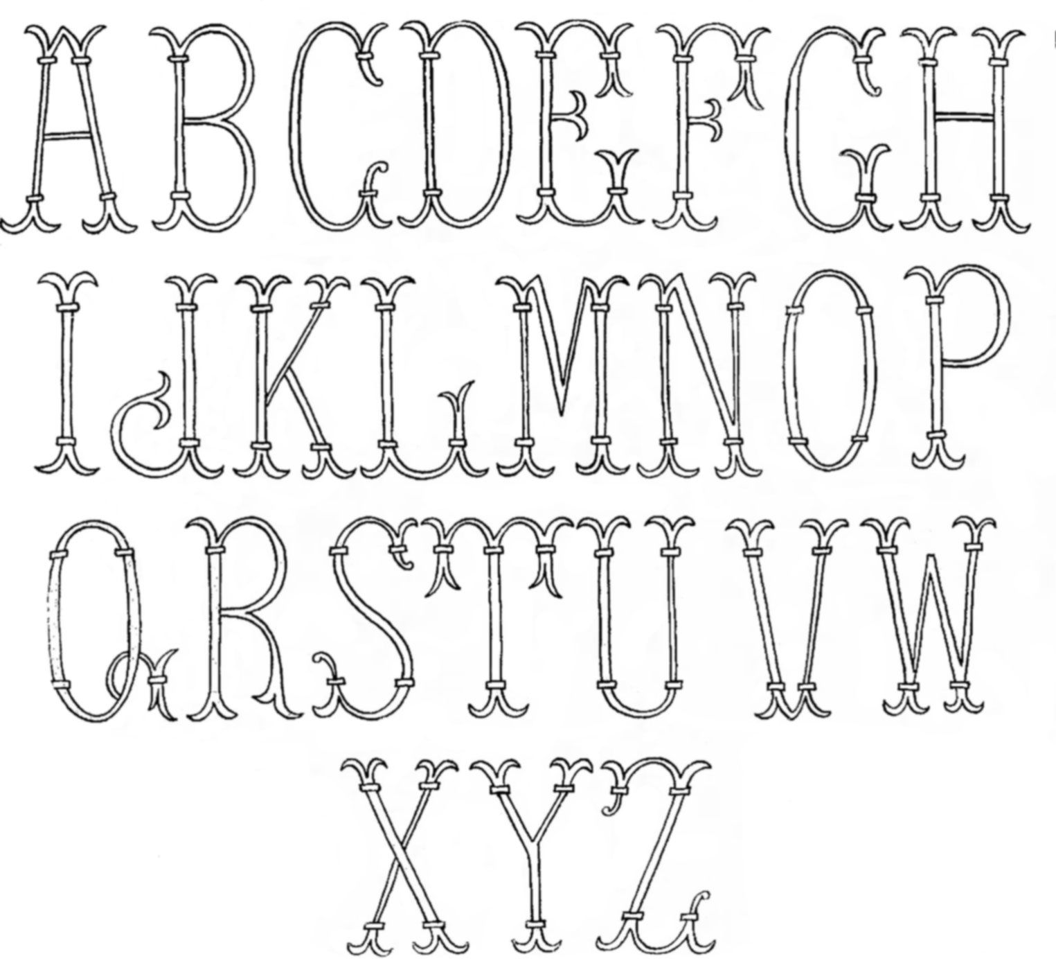 Monogram Patterns for Hand Embroidery: Letters E and F