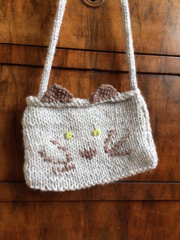 Animal knitted bag, cat kids bag, knitted animal, knitted animal ...