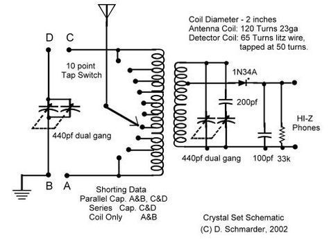 dave s 6 crystal radio schematic crystal radio pinterest rh pinterest ca Crystal Radio Amplifier Schematics FM Crystal Radio Kits
