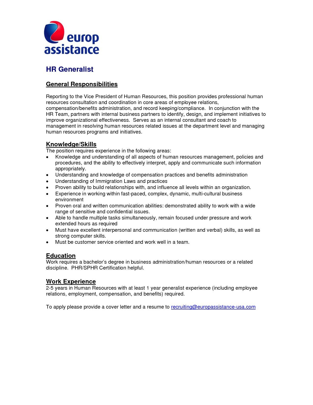 23 Human Resources Cover Letter Generalist Letters Mitocadorcoreano