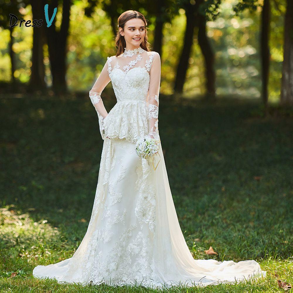 Dressv ivory wedding dress high neck a line bridal long sleeves