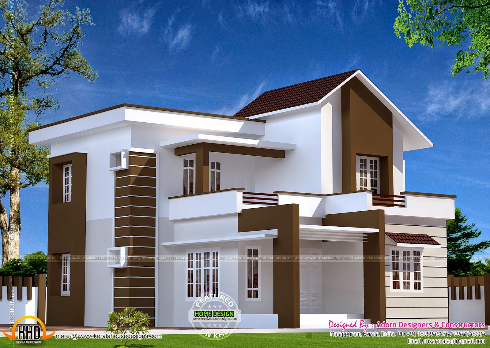 Front Elevation For Double Floor House : Double storied home kerala design floor plans