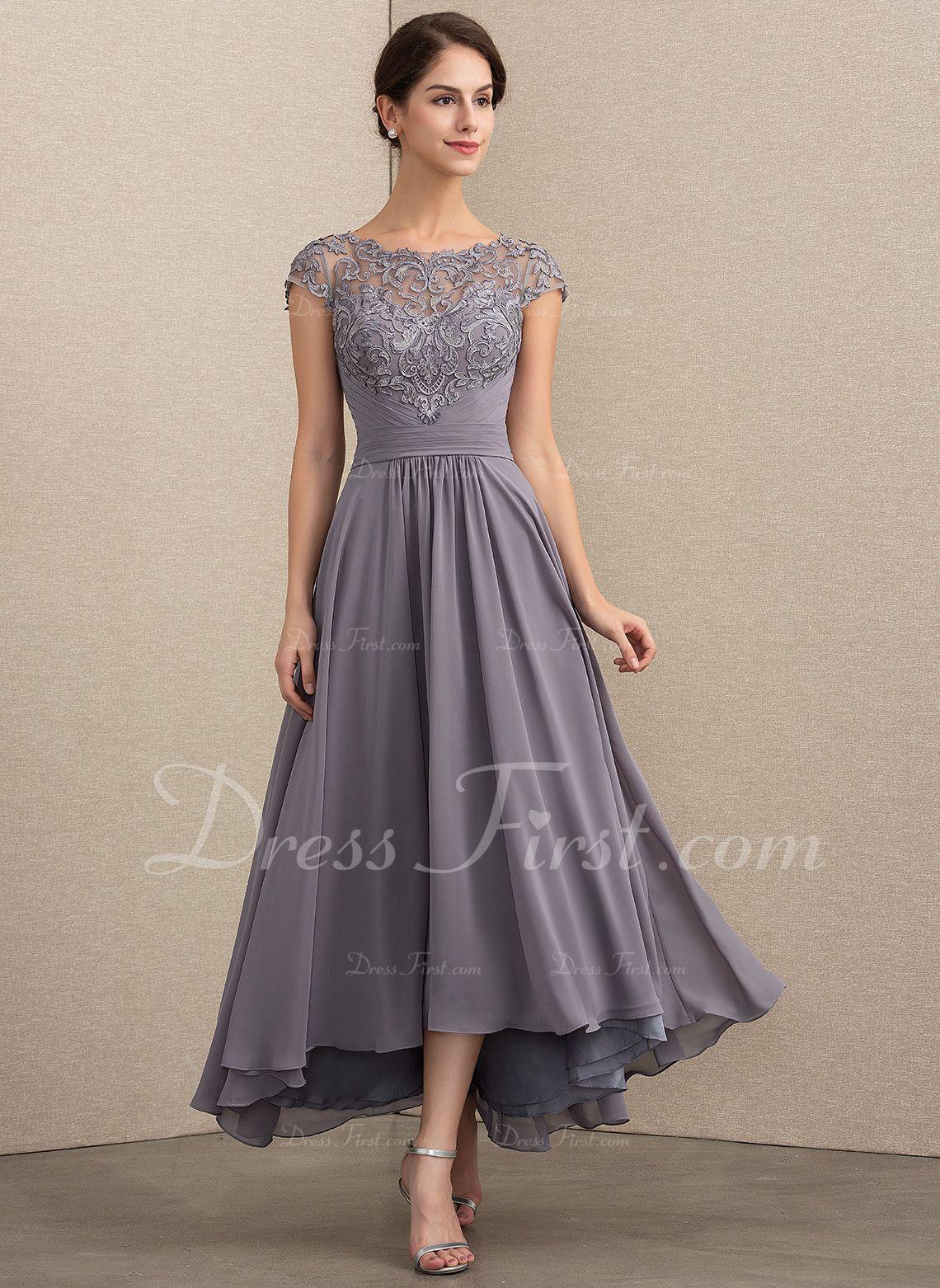 A Line Scoop Neck Asymmetrical Chiffon Lace Evening Dress