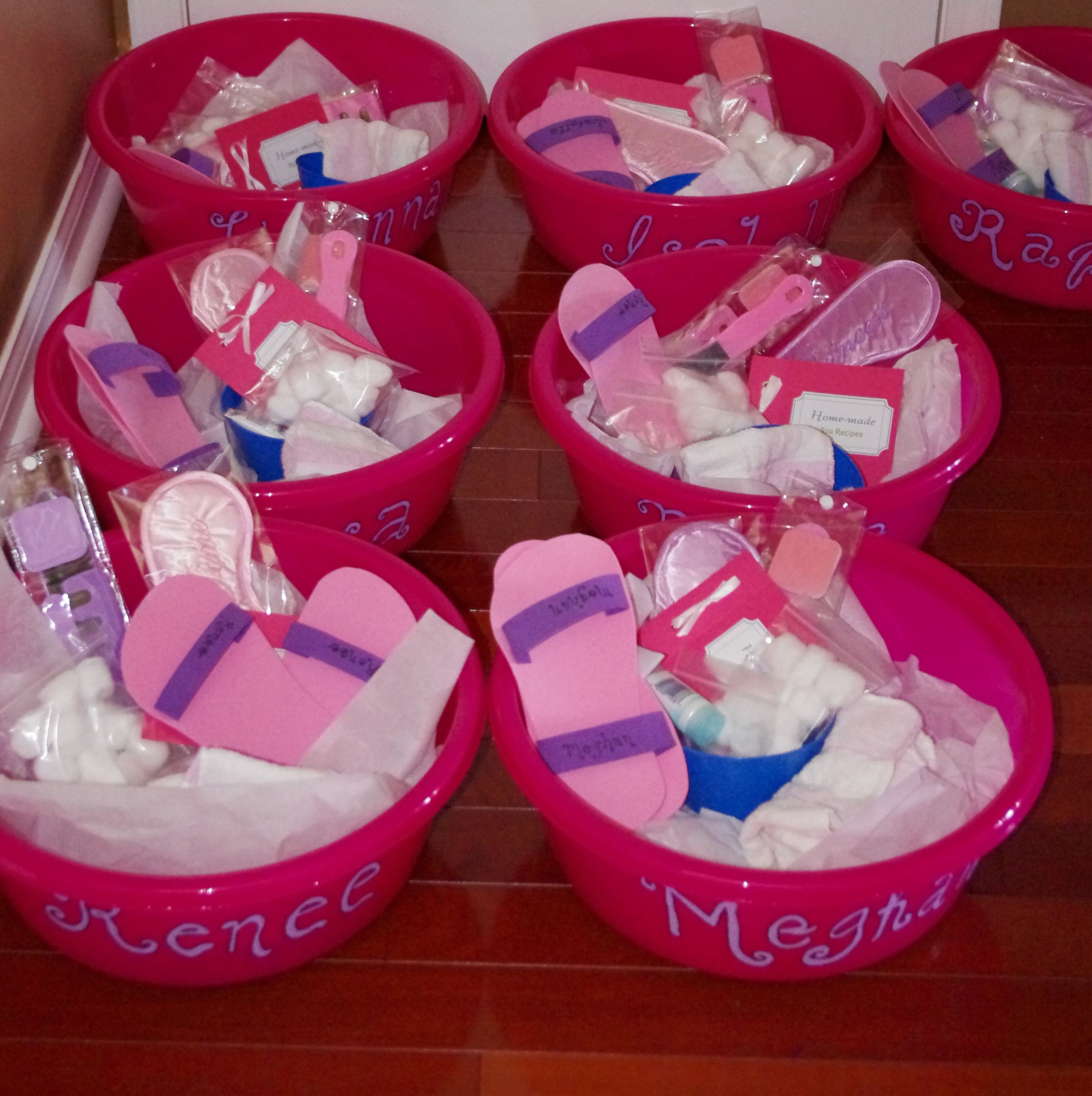 Lootbags. Girls Got To Take Home The Basins They Used, Towels, Creams, Pedi Shoes, Homemade