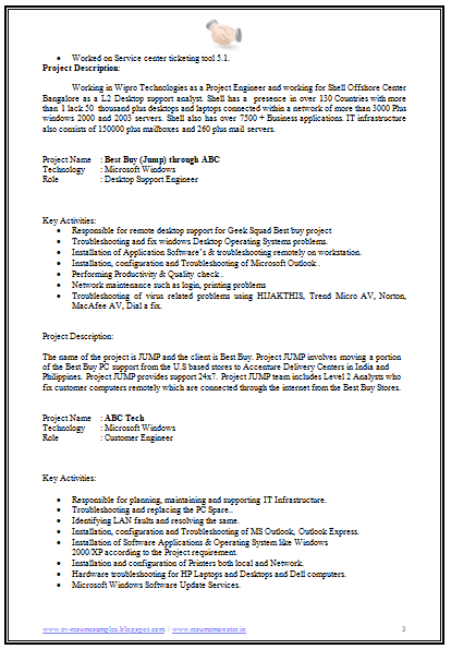 free download software engineer resume 3 - Desktop Support Engineer Resume Sample