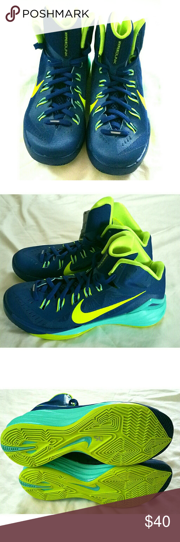 sale retailer d309f 799ca BRAND NEW- Nike Hyperdunk Lunarlon, Size 9   Blue yellow, Shoes sneakers  and Nike shoe