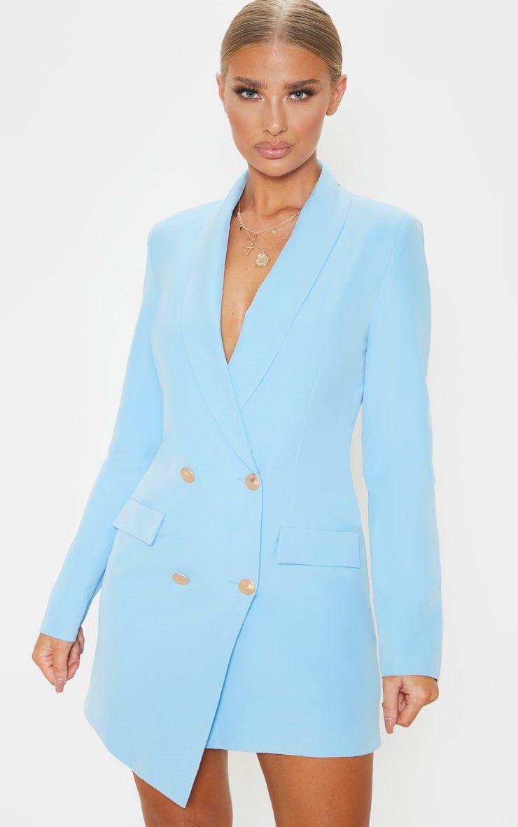 Baby Blue Gold Button Blazer Dress Blazer Dress Outfits Blazer Dress Blazer Buttons [ 1180 x 740 Pixel ]
