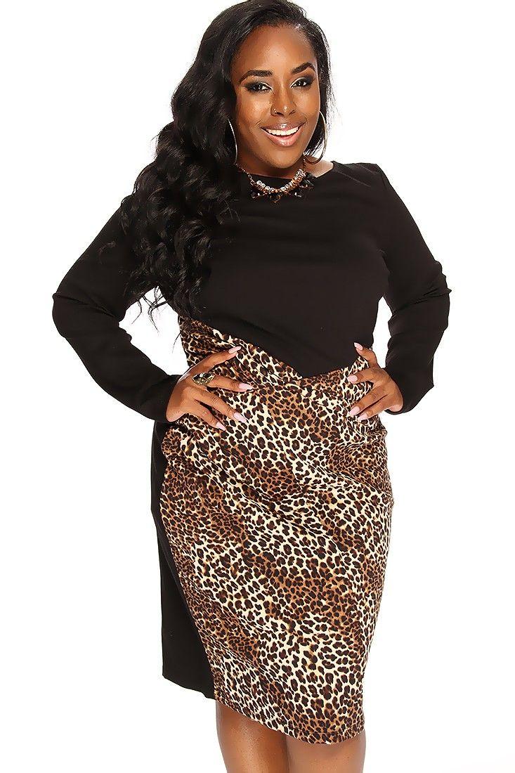 Leopard Print Long Sleeve Sexy Party Plus Size Dress Plus Sizes