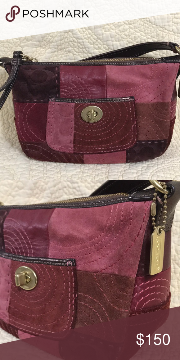 e489af656884 Coach suede red patchwork bag 100% authentic Coach handbag - red pink suede  patchwork with brass accents. Excellent used condition - no visible wear  and ...