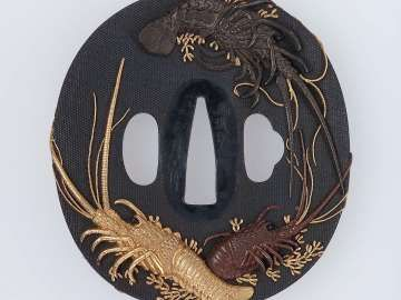 Tsuba with design of crayfish. Japanese. Edo period. mid-19th century Matsuo Gassan (Japanese, 1815–1875), Otsuki School